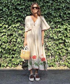 Weißes Hippie Kleid mit langen Ärmeln